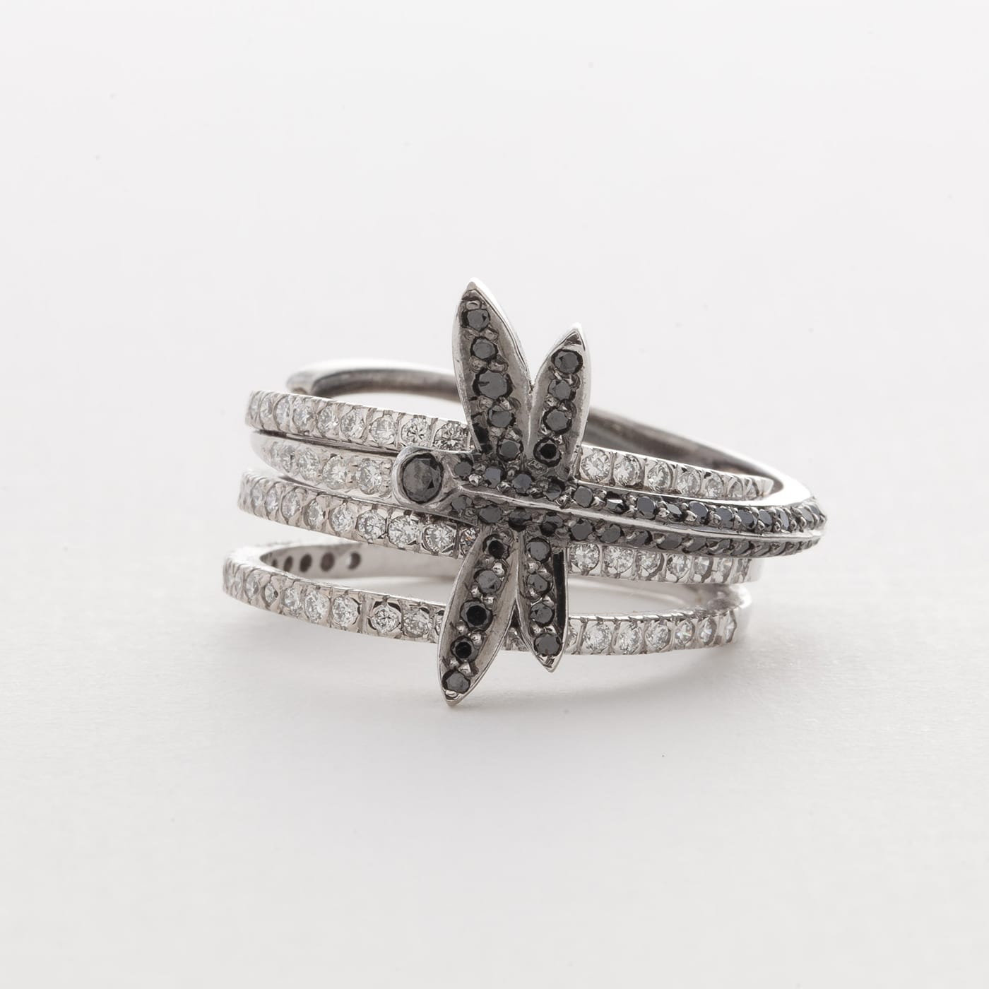 ring jewelry gold in s metallic rings annoushka women diamonds love dragonfly engagement lyst
